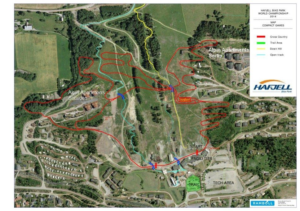 Hafjell Bike Park, Map of tracks for World Championship in Hafjell