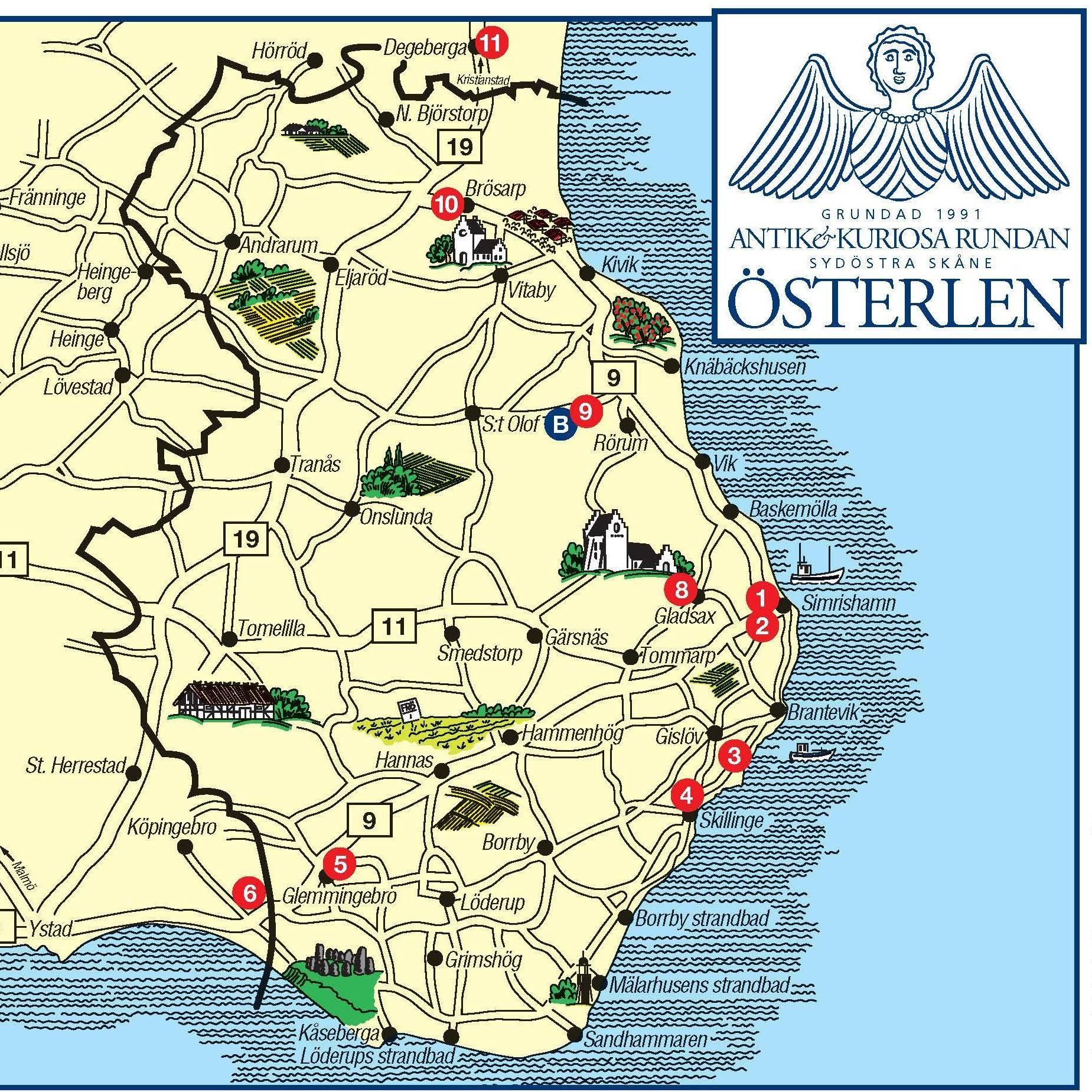 österlen karta Antikhandlarföreningen Ängeln Österlen, Karta, Antikviteter  österlen karta
