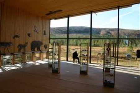 The exhibition hall with panoramic windows facing the mountain.