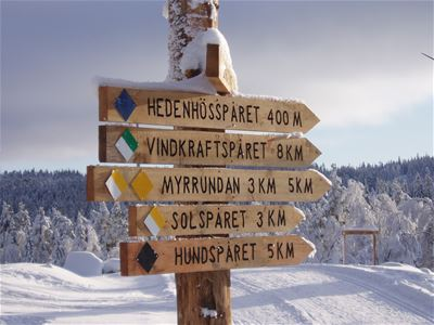 Post with wooden signs showing the length of the different trails.