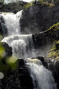 close up of Njupeskär waterfall.