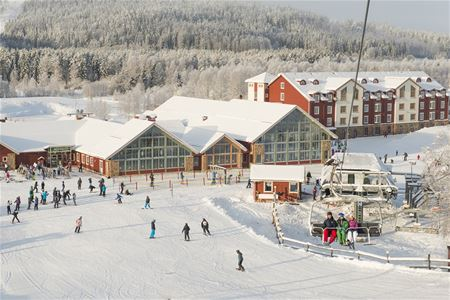 Wiev of ski lodge, hotel and restaurant.