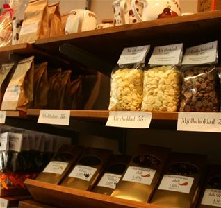 Shelves with different products, chocolate cookies bags with chocolate buttons.