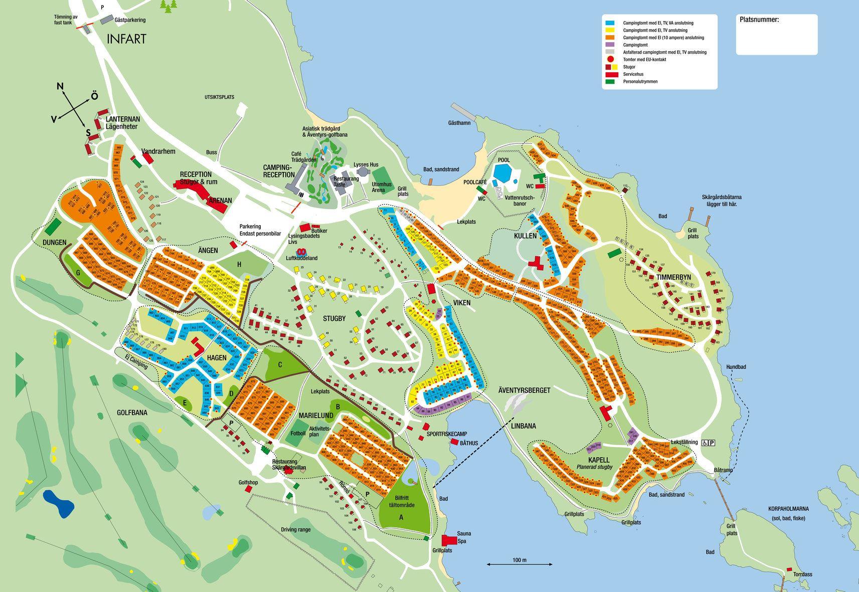 västervik karta Västervik Resort Camping, Accommodation details, Campingtomt