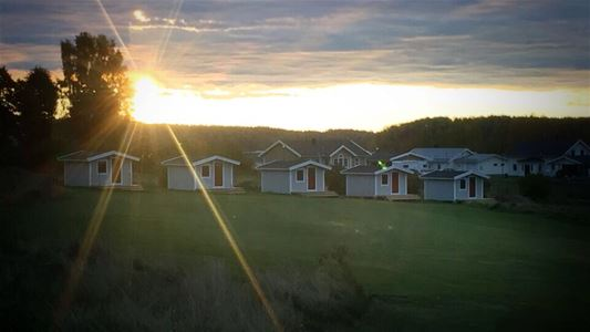 Cottages in the sunset.