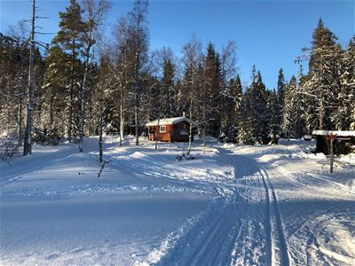 Red cottage and ski trails.