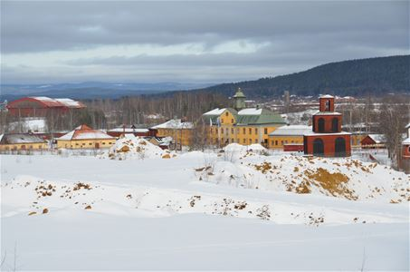 View at wintertime over the area of Falu Gruva.