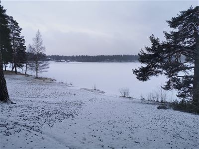 Wiev over a frozen lake with snow on the ground