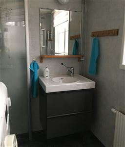 Bathroom with a shower and a laundry machine.