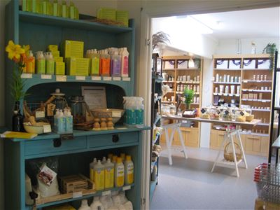 Interior of the shop and the products.