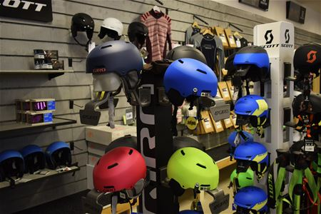 Helmets in different colours.