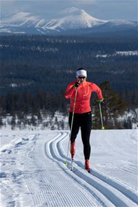 Cross-country skier classic style with mountain in the background.