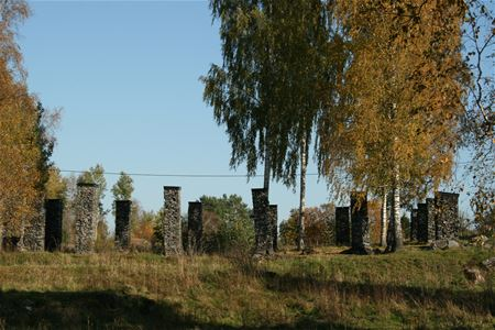 Remaining stone pillars from the old production.